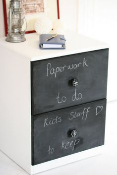 Lilyfield Life: paint the drawers of a filing cabinet with chalkboard paint