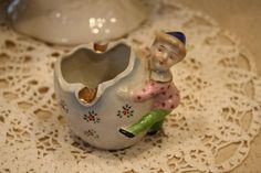 Vintage porcelain ashtray with elf hanging off the side. could be an adorable air plant or succulent planter, pen holder etc. makers mark on bottom. Vintage Ashtray, Pen Holders, Makers Mark, Gnomes, Elf, Vintage Items, Porcelain, Miniatures, Indoor