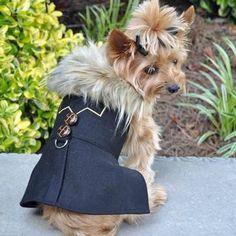 Wool Fur-Trimmed Dog Harness Coat - Chevron Black