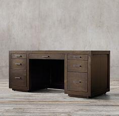 RH's La Salle Metal-Wrapped Desk:La Salle's 1940s industrial aesthetic…