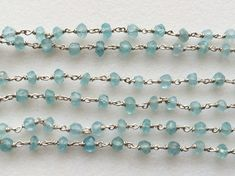 Aquamarine Faceted Rondelle Beads in 925 Silver by gemsforjewels
