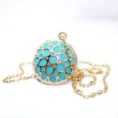 Gold teal necklace handmade designer gold turquoise pendant old style jewelry for her.