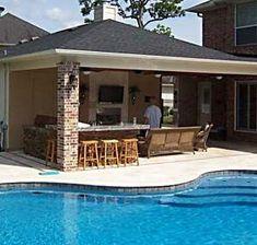 backyard patios, decks, outdoor kitchens and pools Bear Construction - Patio Covers - Outdoor Kitchens - Texas Covered Outdoor Kitchens, Outdoor Kitchen Bars, Backyard Kitchen, Backyard Patio, Covered Patio Kitchen Ideas, Backyard Cookout, Patio Roof, Budget Patio, Diy Patio