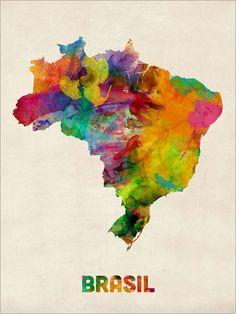 Brazil Watercolor Map Brasil Art Print 493 by artPause on Etsy