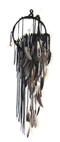 """Hawkwind Series - 9"""" ring Pacha in Stone Smoke Black with Natural Feathers, Carved Branch and Quartz Crystal"""