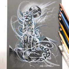 Spirit Snow Leopard by on DeviantArt Snow Leopard Tattoo, Leopard Tattoos, Deviantart Drawings, Color Pencil Art, Fantasy Creatures, Furry Art, Spirit Animal, Great Artists, Art Sketches