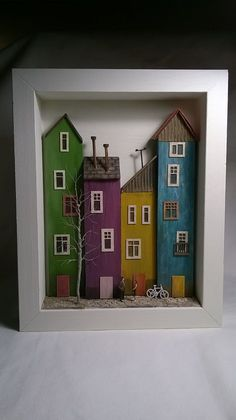 Framed Miniature Wood Houses Diorama by ModartDiorama on Etsy de casas en miniatura Framed Miniature Wood Houses Diorama Scrap Wood Crafts, Driftwood Crafts, Wooden Crafts, Small Wooden House, Wooden Art, Miniature Houses, Little Houses, House In The Woods, Home Crafts