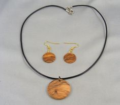 Hand Turned Olivewood Earrings & Matching Necklace by pioneerpens