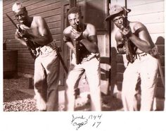 Private Lavell Lynch of Bridgeport, CT center, in June 1944 as a member of the Original Montford Point Marines, the first African Americans all...