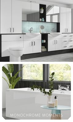 Go for the minimalist look with a constrasting monochrome colour combination. Fitted Bathroom Furniture, Monochrome Color, Small Bathroom, Storage Spaces, Color Combinations, Minimalist, Flooring, Colour, Cabinet