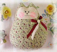Cat  Doll 6 inch Free Standing Kitty Burgundy by CharlotteStyle, $15.00