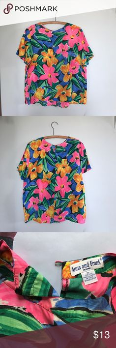 """Vintage Silk Floral Matisse Blouse L/XL Super vibrant print in all the best colors on this one! Tee shirt boxy shape, side slits at hem, and rear keyhole button closure at nape of neck. Tag: Anna & Frank woman. 100% silk. Size 16. Measurements: B=46"""" L=23"""". Only flaw is some stretching at the back seam(last 2 pictures). Vintage Tops Blouses"""
