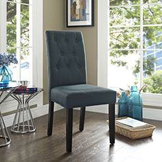 Modway Confer Dining Fabric Side Chair in Gray