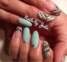 Mint tribal Coachella Music Festival Nails by Julie.