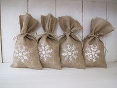 Snowflake Burlap Gift Bags. $20.00, via Etsy.