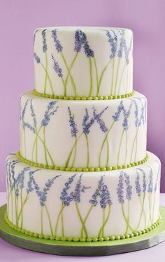 #KatieSheaDesign ♡❤ ❥▶  Lavender Themed Cake.  Sweet Theme for Wedding, summer party