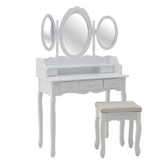 Wooden bοudoir with mirror and stool, in white color. A functional furniture, essential for every woman. Decor, Furniture, Wooden, Dressing Table, Dressing Table Mirror, Table, Home Decor, Functional Furniture, Mirror