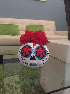 """Hand painted sugar skull pumpkin """"Catrina"""" Halloween Pumpkins, Fall Halloween, Halloween Crafts, Halloween Decorations, Halloween Stuff, Vintage Halloween, Halloween Makeup, Halloween Ideas, Halloween Costumes"""