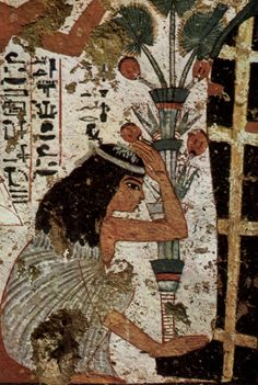 Grave chamber of the  sculptor Nebamun and Ipuki   Scene: Grieving widow before the mummy  circa 1350-1300 BCE Mural Thebes