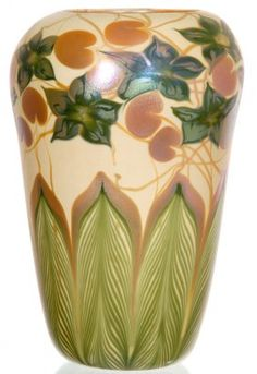 """15 1/2"""" SIGNED QUEZAL DECORATED ART GLASS VASE"""