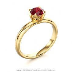 """Yellow Gold Ruby Engagement Ring - """"Evening Star"""" I REALLY want this!"""