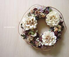 【12月中10%OFF!】アンティーク色のダリアのリース(フェイク) by AJU PLANTS DECO フラワー・ガーデン その他