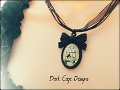 ༻❦༺ Gothic Victorian French Vintage Glass Birdcage Cameo Necklace by DarkCageDesigns ༻❦༺
