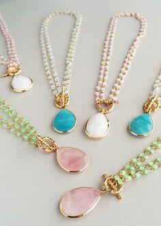 Elegant Quartz Necklaces - Pink, Aqua & White – Pree Brulee