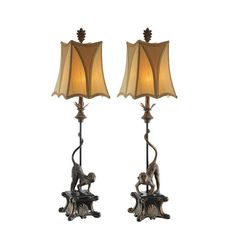 Italian Monkey Table Lamps (Set of 2) (pair of italian monley table lamp), Gold (Metal)