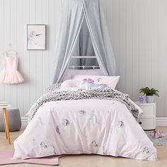 Unicorn Star Quilt Cover Set Purple