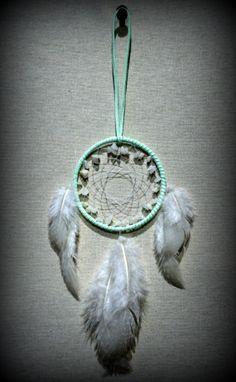 Mint Green Color Dream Catcher with snow by DreamySummerNights, $8.00