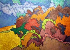 """Mohawk Wooded Slopes by Easton Pribble, 1986, oil on linen, 36"""" x 50"""" 