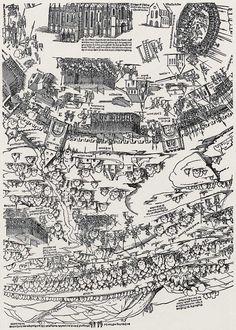 Publisher: Meldemann, Nikolaus, Title: »Der Meldeman-Plan« Belagerung der Stadt Wien, Detail [5/6], Date: 1529 Planer, City Photo, Vintage World Maps, City