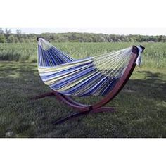 Double Cotton Hammock in Oasis with Solid Pine Arc Stand - The Home Depot Kids Hammock, Rope Hammock, Double Hammock, Hammock Stand, Camping Hammock, Patio Lounge Furniture, Outdoor Furniture, Shady Tree
