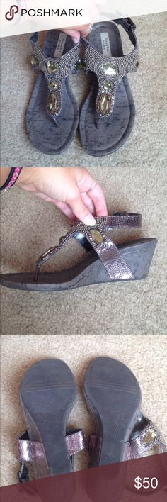 Vera Wang brown beaded sandals heels Wore once for a graduation party for about 2 hours. Great condition, barely any wearing on soles. faux leather bands, cork pattern on platform. 2.5 inch heels. size 6.5 Simply Vera Vera Wang Shoes Wedges