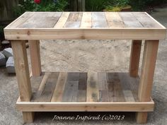 I've been itching to create anything with salvaged pallets. My daughter's kitchen island is finally done. Yea! We spent an April Saturday afternoon salvaging pallets. (Read about our Pallet Pickin...