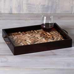 DIY Wine Cork Serving Tray with Antique Brass Handles - Wine Enthusiast