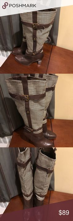 Brown Houndstooth Design Boots Beautiful Tommy Hilfiger Brown Boots. Worn only once and received great compliments on the design. Tommy Hilfiger Shoes Over the Knee Boots