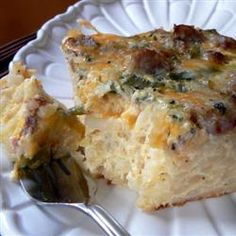 "Farmer's Casserole | ""Absolutely Delicious! A great breakfast casserole to serve for overnight guests that will keep you with them and out of the kitchen!"""