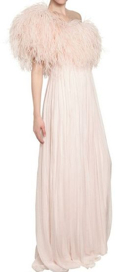 ALEXANDER MCQUEEN ENGLAND Ostrich Feather Silk Chiffon Dress