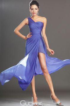 high split blue shade long prom one shoulder chiffon dress