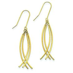14K Yellow Gold Fancy Curved Dangle Earrings Jewelry Review