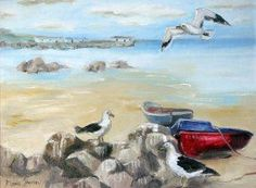 Peaceful Day at Paternoster, oil on canvas, South African Art, Beach Scenes, My Land, Afrikaans, West Coast, Oil On Canvas, Arts And Crafts, Pencil, Sketches