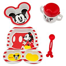 Mickey Mouse Feeding Set for Baby. Camden needs this.