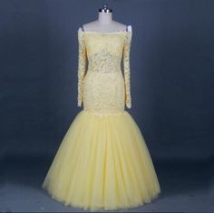 Yellow Mermaid Ball Dresses Word Stripes Fashion Decals