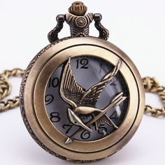 Bronze Copper Quartz Pocket Watch The Hunger Games Cosplay Movie Related Badge Emblem Pendant Chain Clock Gift Souvenirs + box
