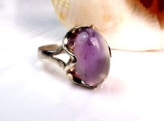Sterling Silver 925 Mexico Flourite Purple Stone Size 7 Mexican Taxco Band Ring #Taxco