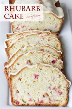 easy rhubarb cake recipe does not have strawberries but the orange zest and orange icing bring a delicious sweetness to balance the tart rhubarb. This is sure to be a popular recipe in your rhubarb recipes collection. Easy Cake Recipes, Easy Desserts, Delicious Desserts, Dessert Recipes, Rhubarb Desserts Easy, Ruhbarb Recipes, Rhubarb Bread, Rhubarb Muffins, Cooking Rhubarb