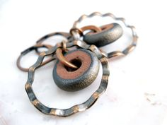 Ceramic and Copper Earrings Wavy Copper by ChelseaGirlDesigns, $24.00