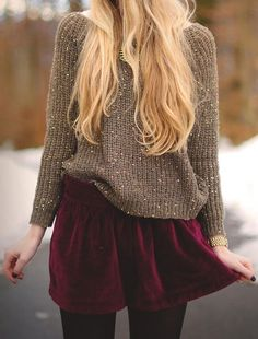Sweater & Velvet Red Skirt
